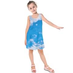 Sky Blue Clouds Nature Amazing Kids  Sleeveless Dress by Simbadda