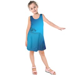Fractals Lines Wave Pattern Kids  Sleeveless Dress by Simbadda