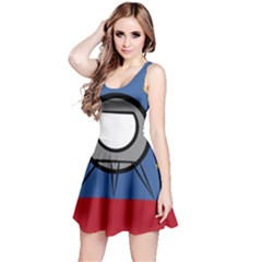 A Rocket Ship Sits On A Red Planet With Gold Stars In The Background Reversible Sleeveless Dress by Simbadda