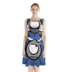 A Rocket Ship Sits On A Red Planet With Gold Stars In The Background Sleeveless Chiffon Waist Tie Dress by Simbadda