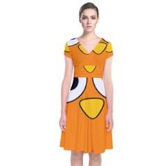 Bird Big Eyes Orange Short Sleeve Front Wrap Dress by Alisyart