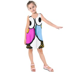 Bird Big Eyes Pink Blue Kids  Sleeveless Dress by Alisyart