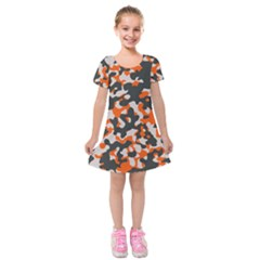 Camouflage Texture Patterns Kids  Short Sleeve Velvet Dress by Simbadda