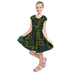 A Completely Seamless Background Design Circuit Board Kids  Short Sleeve Dress by Simbadda