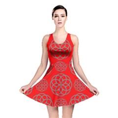 Geometric Circles Seamless Pattern On Red Background Reversible Skater Dress by Simbadda