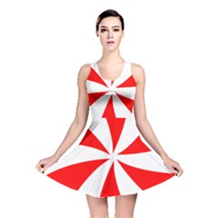 Candy Red White Peppermint Pinwheel Red White Reversible Skater Dress
