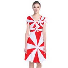Candy Red White Peppermint Pinwheel Red White Short Sleeve Front Wrap Dress