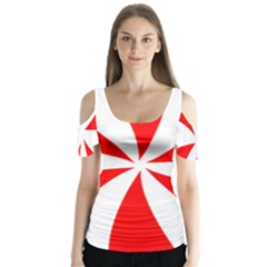 Candy Red White Peppermint Pinwheel Red White Butterfly Sleeve Cutout Tee