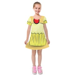 Cake Bread Pie Cerry Kids  Short Sleeve Velvet Dress by Alisyart