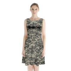 Us Army Digital Camouflage Pattern Sleeveless Chiffon Waist Tie Dress by Simbadda