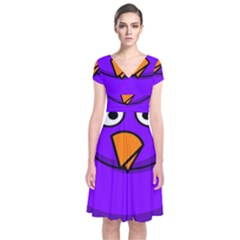 Cartoon Bird Purple Short Sleeve Front Wrap Dress by Alisyart