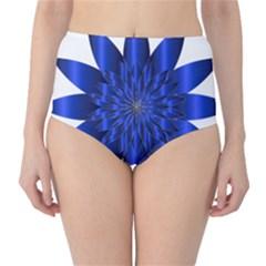 Chromatic Flower Blue Star High-waist Bikini Bottoms