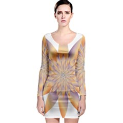 Chromatic Flower Gold Star Floral Long Sleeve Bodycon Dress by Alisyart
