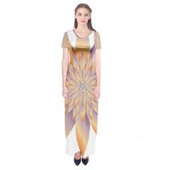 Chromatic Flower Gold Star Floral Short Sleeve Maxi Dress by Alisyart