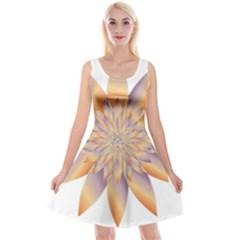 Chromatic Flower Gold Star Floral Reversible Velvet Sleeveless Dress by Alisyart