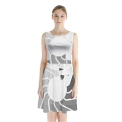 Flower Transparent Shadow Grey Sleeveless Chiffon Waist Tie Dress by Alisyart