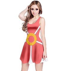 Flower With Heart Shaped Petals Pink Yellow Red Reversible Sleeveless Dress