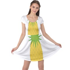 Fruit Pineapple Yellow Green Cap Sleeve Dresses