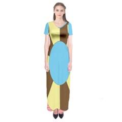 Garage Door Quilts Flower Line Short Sleeve Maxi Dress by Alisyart