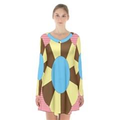 Garage Door Quilts Flower Line Long Sleeve Velvet V Neck Dress by Alisyart