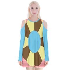 Garage Door Quilts Flower Line Velvet Long Sleeve Shoulder Cutout Dress by Alisyart