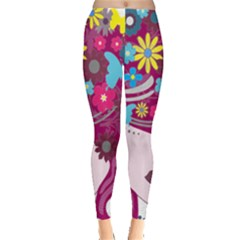 Floral Butterfly Hair Woman Leggings