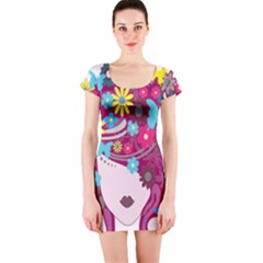 Floral Butterfly Hair Woman Short Sleeve Bodycon Dress