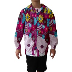 Floral Butterfly Hair Woman Hooded Wind Breaker (kids) by Alisyart