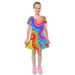 Hand Painted Digital Doodle Abstract Pattern Kids  Short Sleeve Velvet Dress by Simbadda