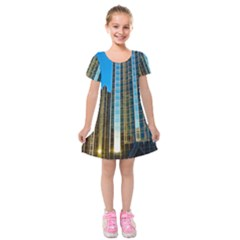 Two Abstract Architectural Patterns Kids  Short Sleeve Velvet Dress by Simbadda