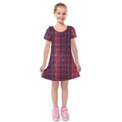 Colorful And Glowing Pixelated Pixel Pattern Kids  Short Sleeve Velvet Dress by Simbadda