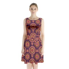 Abstract Seamless Mandala Background Pattern Sleeveless Chiffon Waist Tie Dress by Simbadda