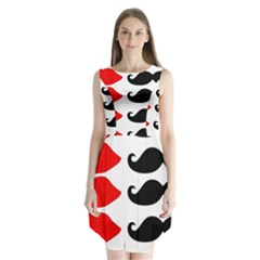 Mustache Black Red Lips Sleeveless Chiffon Dress   by Alisyart