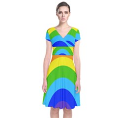 Rainbow Short Sleeve Front Wrap Dress by Alisyart