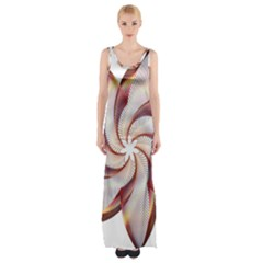 Prismatic Flower Line Gold Star Floral Maxi Thigh Split Dress by Alisyart