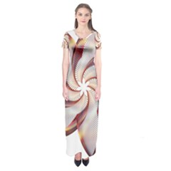 Prismatic Flower Line Gold Star Floral Short Sleeve Maxi Dress by Alisyart