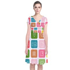 Icons Vector Short Sleeve Front Wrap Dress by Simbadda