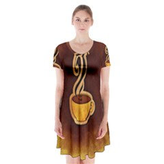 Coffee Drink Abstract Short Sleeve V Neck Flare Dress by Simbadda