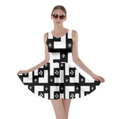 Abstract Pattern Background  Wallpaper In Black And White Shapes, Lines And Swirls Skater Dress by Simbadda