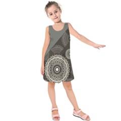 Abstract Mandala Background Pattern Kids  Sleeveless Dress by Simbadda