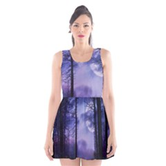 Moonlit A Forest At Night With A Full Moon Scoop Neck Skater Dress by Simbadda