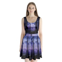 Moonlit A Forest At Night With A Full Moon Split Back Mini Dress  by Simbadda