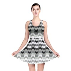 Chevron Wave Triangle Waves Grey Black Reversible Skater Dress
