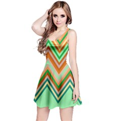 Chevron Wave Color Rainbow Triangle Waves Reversible Sleeveless Dress