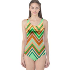 Chevron Wave Color Rainbow Triangle Waves One Piece Swimsuit