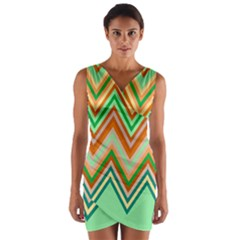 Chevron Wave Color Rainbow Triangle Waves Wrap Front Bodycon Dress