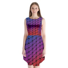 Colorful Red & Blue Gradient Background Sleeveless Chiffon Dress   by Simbadda