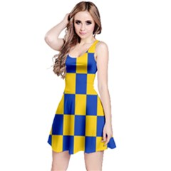 Flag Plaid Blue Yellow Reversible Sleeveless Dress by Alisyart