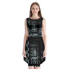 Optical Illusion Square Abstract Geometry Sleeveless Chiffon Dress   by Simbadda