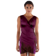 Abstract Purple Pattern Wrap Front Bodycon Dress by Simbadda